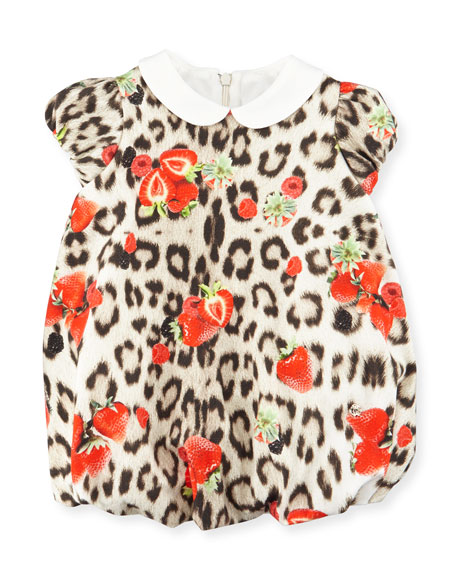 Roberto Cavalli Collared Leopard-Print Bubble Dress, Tan, Size 12-24 Months