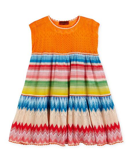 Missoni Sleeveless Striped Zigzag Dress, Multicolor, Size 2-6