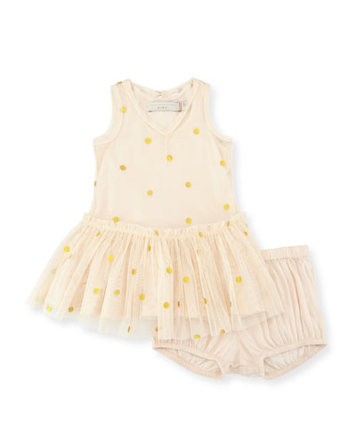 Bell Polka-Dot Tulle Dress w/ Bloomers, Buttermilk, Size 6-24 Months