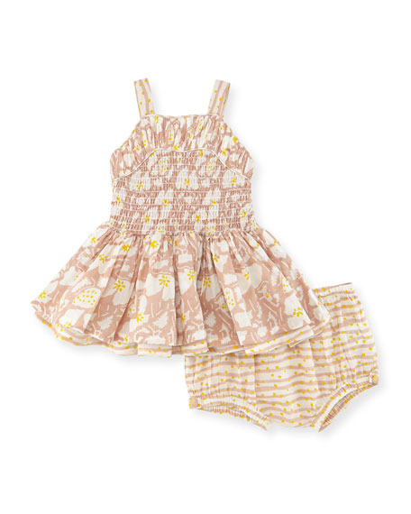 Stella McCartney Sleeveless Ruched Floral Dress w/ Bloomers,