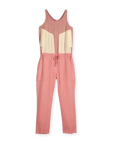 Loretta Sleeveless Colorblock Jumpsuit, Dusty Pink, Size 8-14