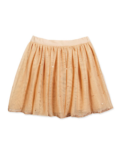 Lottie Sequined Tulle Skirt, Peachy, Size 6-12