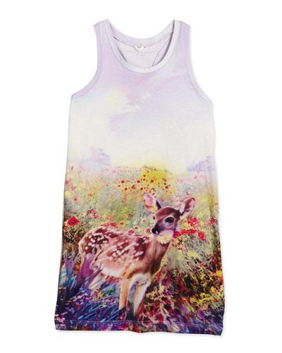 Mia Floral Deer Racerback Tank Dress, Lavender, Size 4-10