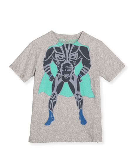 Stella McCartney Arlo Superhero Jersey Tee, Gray, Size