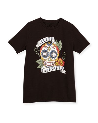 Stella McCartney Arlo Sugar Skull Jersey Tee, Black,