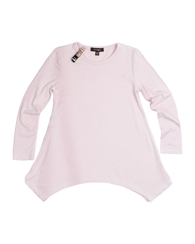Long-Sleeve Knit Tunic, Pearl, Size 8-14