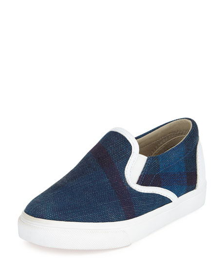 Burberry Linus Check Skate Shoe, Blue, Boys' Youth