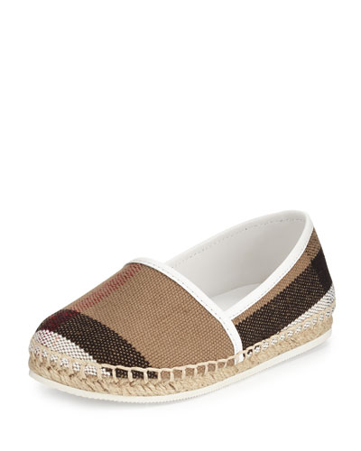 Peckfield Check-Print Espadrille Flat, Off White/Tan, Youth