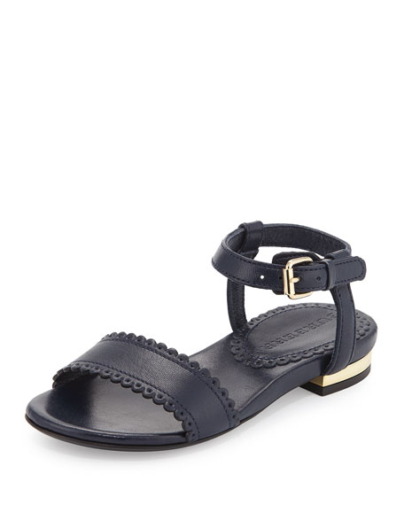 Burberry Vanness Leather Sandal, Navy, Toddler