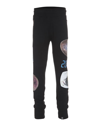 Asher Tapered Sci-Fi Sweatpants, Black, Size 4-12