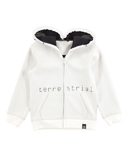 Extraterrestrial Hooded Sweatshirt, White, Size 4-10