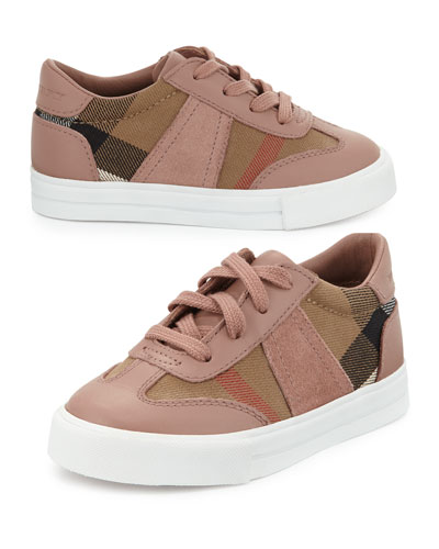 Burberry Longsley Leather-Trim Check Sneaker, Nude Blush, Toddler