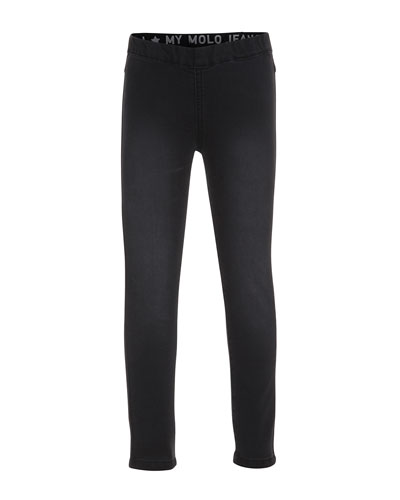 Faded Stretch Legging Jeans, Black, Size 3-14