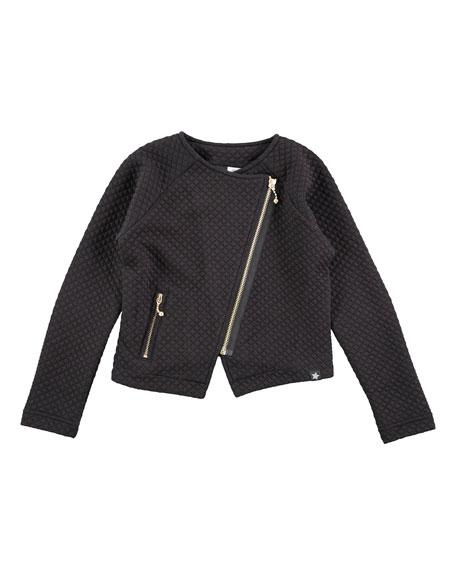 Molo Waffle-Knit Raglan Motorcycle Jacket, Black, Size 3-14