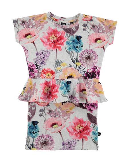 molo Cap-Sleeve Floral Peplum Dress, Light Gray/Multicolor, Size 5-12