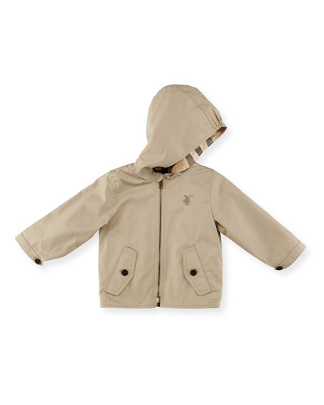 Burberry Bryce Hooded Zip-Front Jacket, Taupe, Size 3M-3
