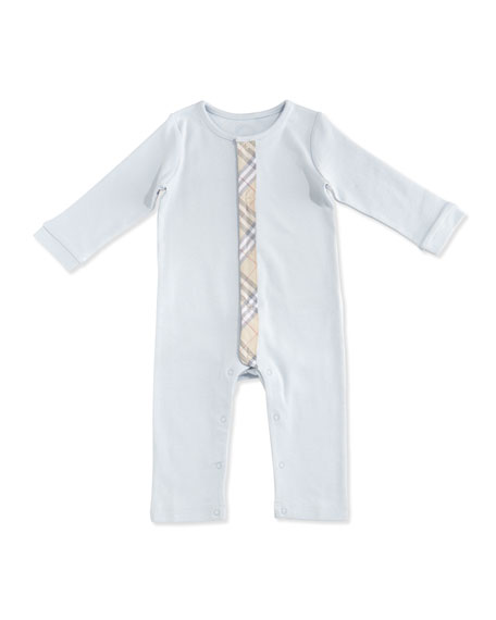 Burberry Merry Check-Trim Cotton Coverall, Ice Blue, Size