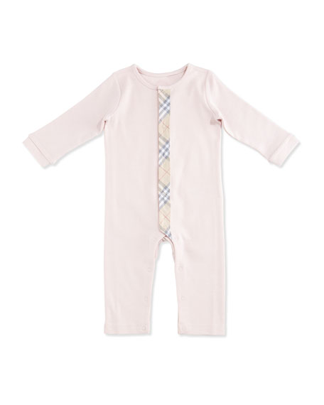 Burberry Merry Check-Trim Cotton Coverall, Powder Pink, Size