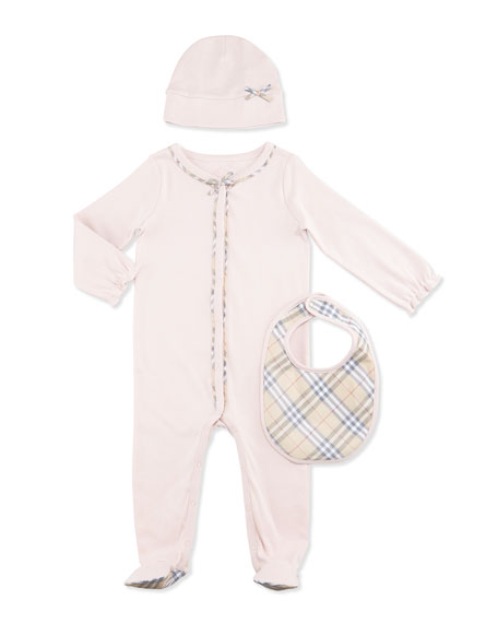Burberry Jacey Footie Pajama Layette Set, Powder Pink,