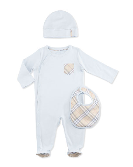Burberry Jaydin Footie Pajama Layette Set, Ice Blue,