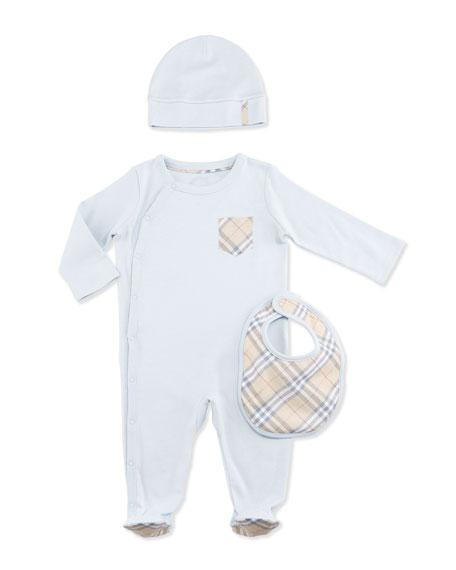 Jaydin Footie Pajama Layette Set, Ice Blue, Size 1-18 Months