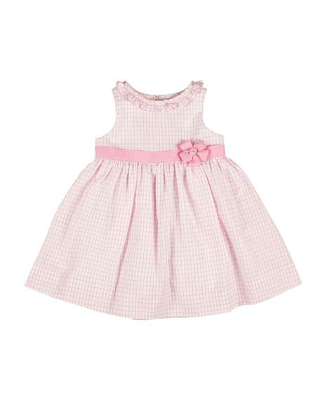 Florence Eiseman Sleeveless Ruffle-Trim Tattersall Dress, White/Pink, Size 4-6