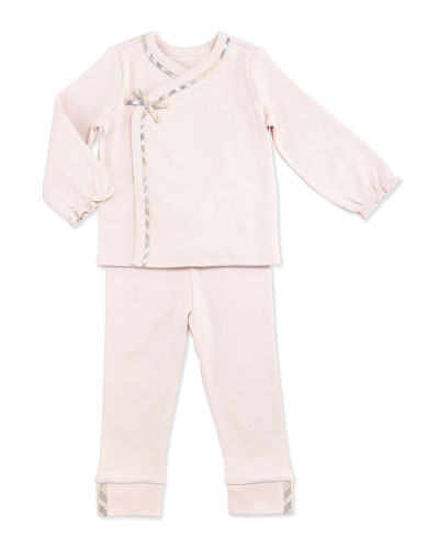 Nylah Two-Piece Cotton Pajama Set, Powder Pink, Size 1-18 Months
