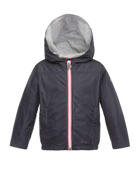 Moncler Urville Jersey-Lined Raincoat, Navy, Size 2-3