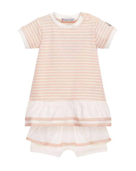 Moncler Short-Sleeve Striped Tunic w/ Ruffle Bloomers, Pink,
