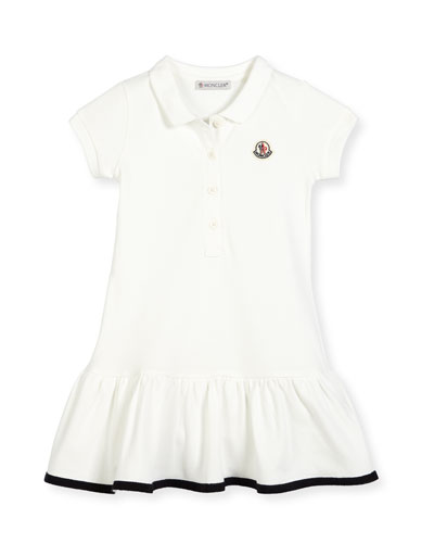 Short-Sleeve Cotton-Blend Polo Dress, White, Size 2-3