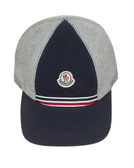 Moncler Cotton Baseball Cap, Gray/Navy