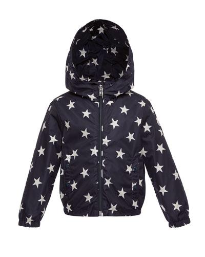 Houri Hooded Star-Print Rain Jacket, Navy, Size 4-6