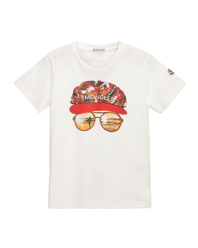 Short-Sleeve Cotton Sunglasses Tee, White, Size 4-6