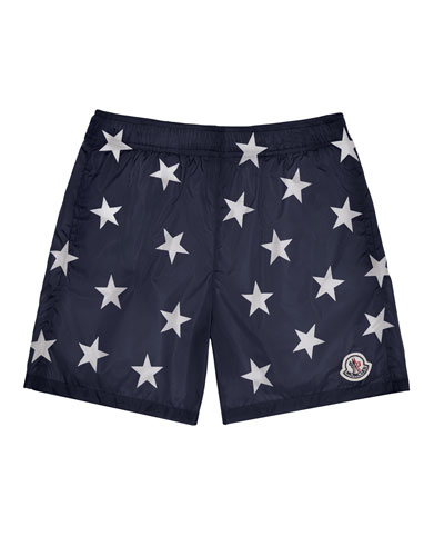 Star-Print Swim Trunks, Navy, Size 4-6