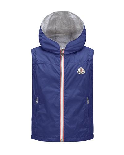 Deneb Jersey-Lined Hooded Rain Vest, Blue, Size 8-14
