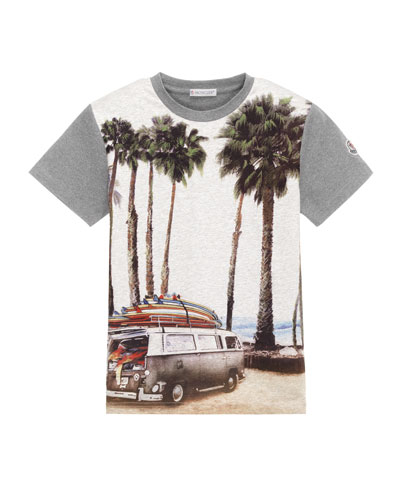 Short-Sleeve Cotton Beach Tee, Gray, Size 8-14