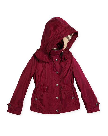 Burberry Marylesdale Hooded Snap-Front Jacket, Berry Pink, Size