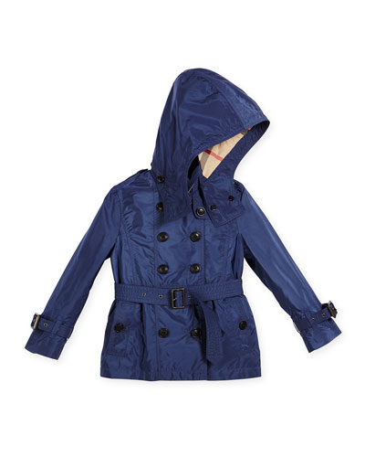 Grangemoore Hooded Trenchcoat, Indigo, Size 4-14