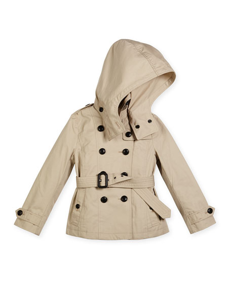 Burberry Reymoore Hooded Cotton Trenchcoat, Stone, Size 4-14