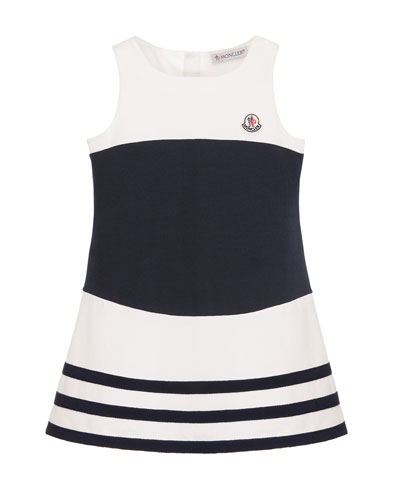 Sleeveless Striped Stretch Dress, White/Blue, Size 4-6