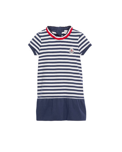 Short-Sleeve Striped Jersey Dress, Blue, Size 4-6