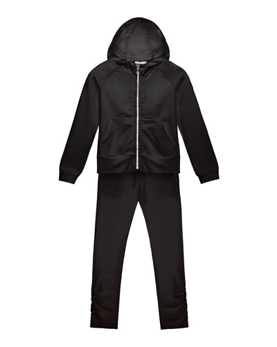 Hooded Track Jacket w/ Ruched Pants, Black, Size 8-14