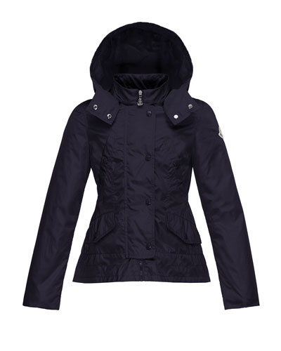 Ayrolette Hooded Raincoat, Dark Blue, Size 8-14