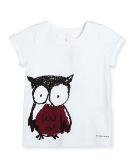 Cap-Sleeve Owl Jersey Tee, White/Berry Pink, Size 4-14