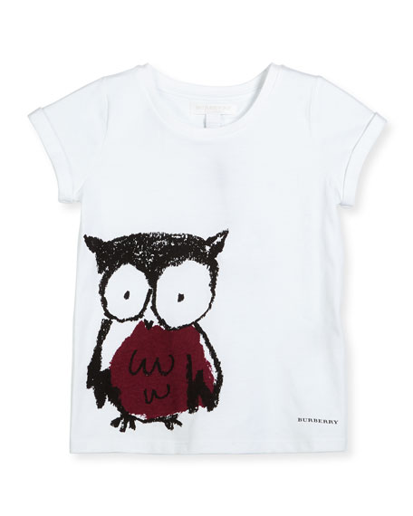 Burberry Cap-Sleeve Owl Jersey Tee, White/Berry Pink, Size 4-14