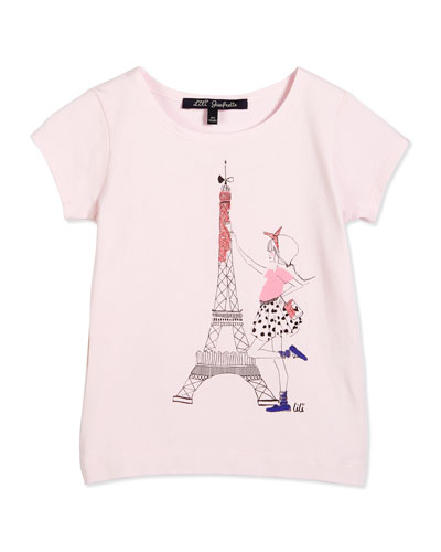 Short-Sleeve Eiffel Tower Tee, Light Pink, Size 2-6