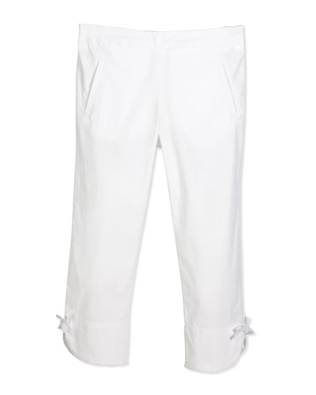 Lili Gaufrette Stretch Bow-Trim Ankle Pants, White, Size