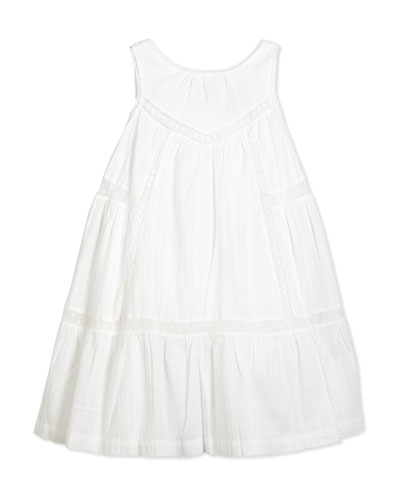 Sleeveless Lace-Trim Sundress, White, Size 2-6