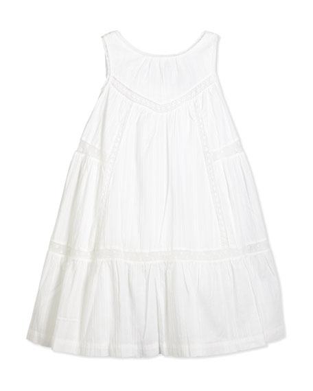 Lili Gaufrette Sleeveless Lace-Trim Sundress, White, Size 2-6