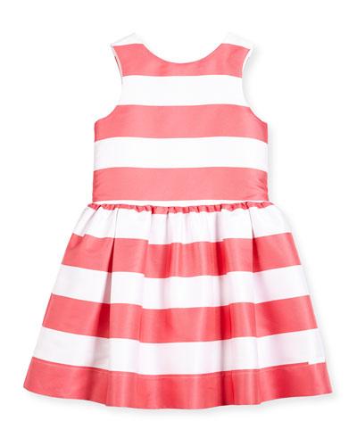 Sleeveless Striped A-Line Dress, Watermelon, Size 2-6